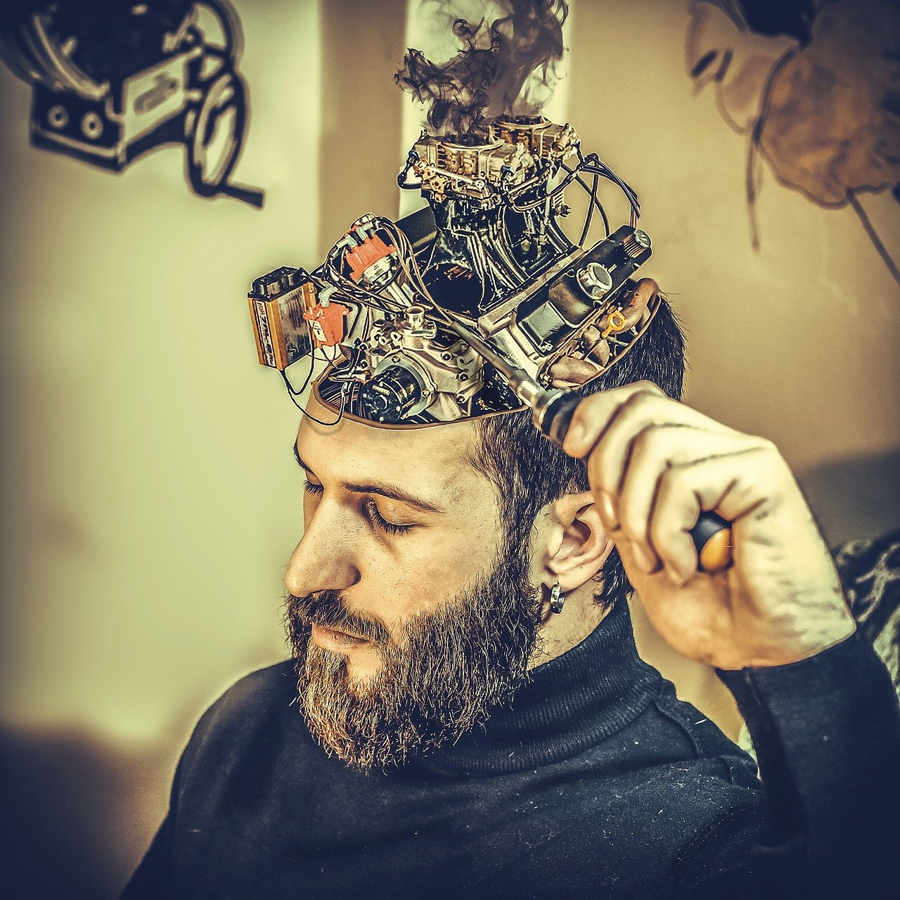 mechanical, brain, man
